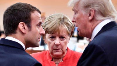 Macrón Merkel Trump