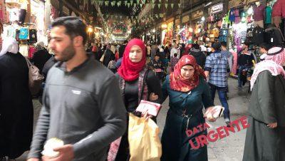 El interior del mercado en Damasco