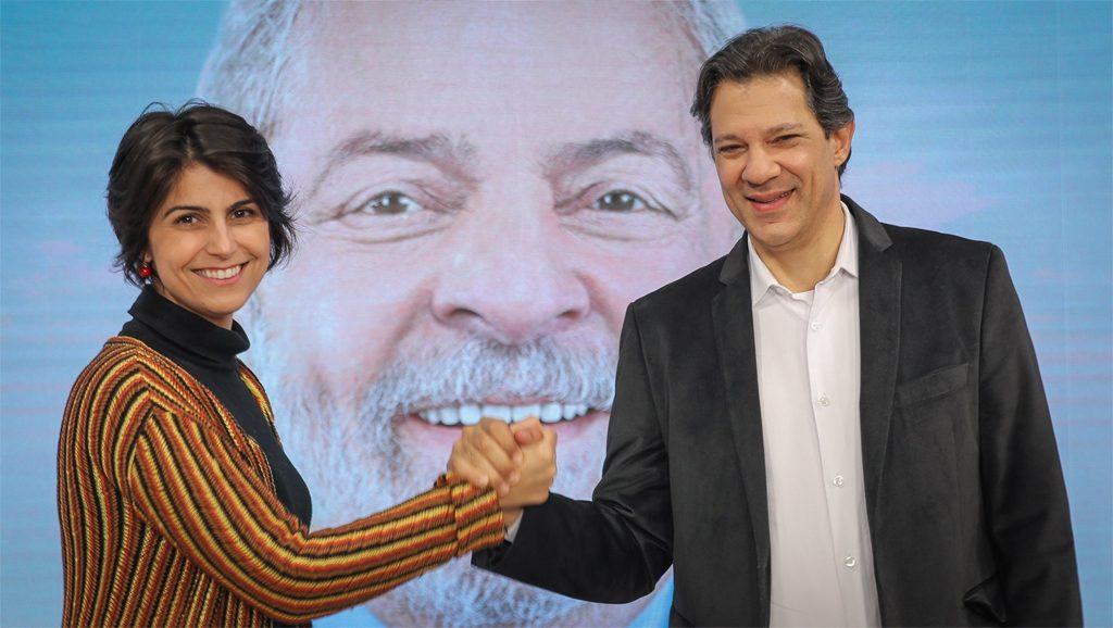 Manuela D'Ávila y Fernando Haddad - PT - Fuente foto web - Data Urgente