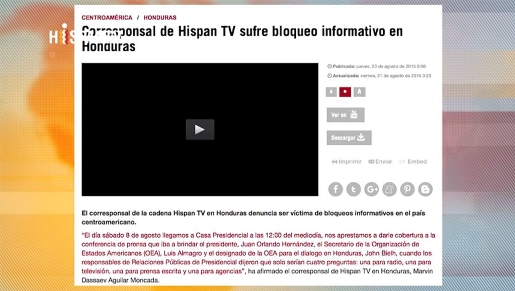 HispanTV - Honduras - Fuente foto web - Data Urgente