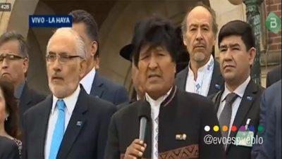 La Haya - Evo Morales - Fuente TW - Data Urgente