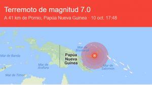 Terremoto en Nueva Guinea - Fuente Google - Data Urgente