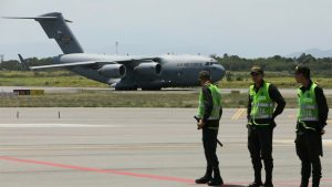Cúcuta - Avión de transporte militar pesado de largo alcance C-17 Globemaster III - Fuente foto Telemundo - Data Urgente