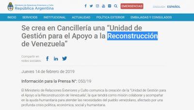 Grupo de reconstrucción de Veneziuela - Cancillería Argentina - Data Urgente